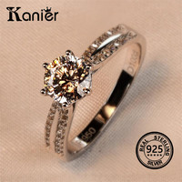 KANIER Simulation Diamond Women S Ring 100 925 Sterling Silver 1 Carats Women S Wedding Ring