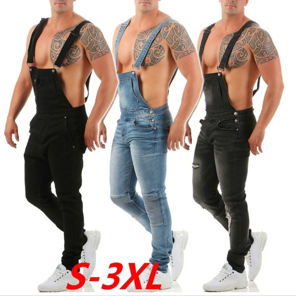 Sexy Muscle Men Strap Jeans Popular Overalls Fashion Men's Romper Torn Jeans  Street Distressed Denim Bib Overalls