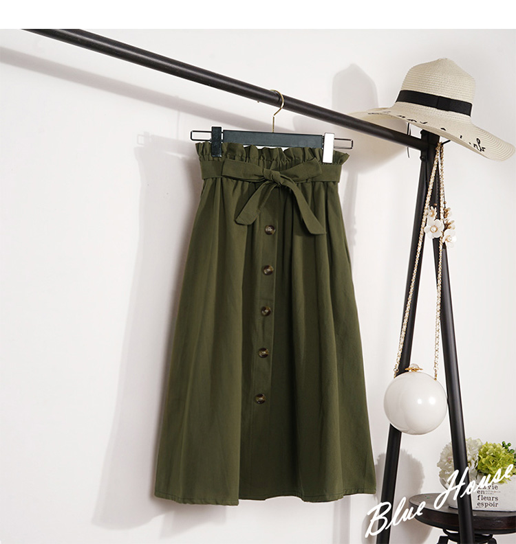 HTB1sasdXx2rK1RkSnhJq6ykdpXaP - Summer Autumn Skirts Womens Midi Knee Length Korean Elegant Button High Waist Skirt Female Pleated School Skirt