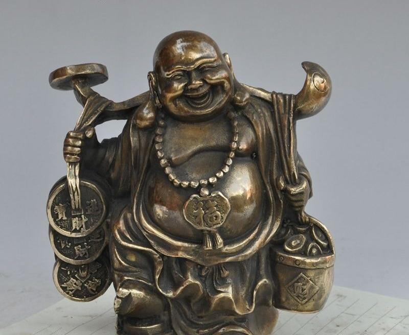 """6"""" chinese Buddhism Bronze wealth money coin ingot ruyi Maitreya Buddha Statue"""