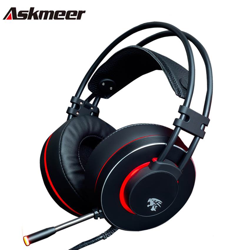 Askmeer V12 PC Gamer Headsets Gaming Headphone USB Stereo Game Headset with Microphone Led Light for Computer Laptop Best Casque rock y10 stereo headphone earphone microphone stereo bass wired headset for music computer game with mic