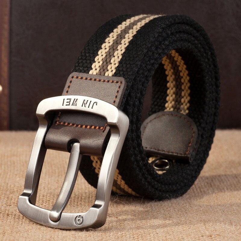 Лучший YBT ремень унисекс, холст, сплав, пряжка, повседневный мужской и женский ремень, военный, для улицы, тактический, высокое качество, унисекс ремень - Цвет: J Black stripe