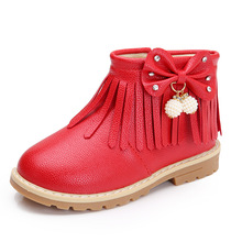 Autumn Winter Fashion Childrens leather boots For Baby Girls Leisure short boot Flowers Warm plush Kids Martin snow