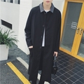 2016 Men's new Vintage design male color block decoration brief loose apiece male ultra long outerwear ultra long trench