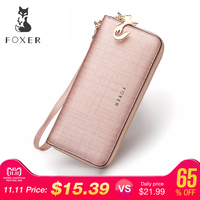 FOXER Brand Women Leather Wallets with Wristle Luxury Female Purse Women's Clutch Wallet & Credit Bag & Cellphone Bag For Women