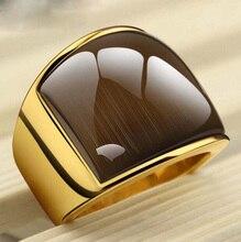 Rings361L USTYLE nueva Moda de Acero Inoxidable y Oro Amarillo Plateado Simple Anillo de La Joyería Con Ópalo Para Hombres UR9005Y