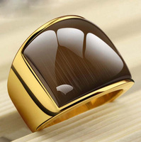USTYLE New Fashion Rings361L Stainless Steel 18K Yellow Gold Plated Simple Jewelry Ring With Opal For