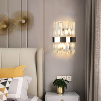 Modern LED crystal wall sconces high quality chrome wall lamps for the bedroom bedside lamp headboard staircase light fixtures