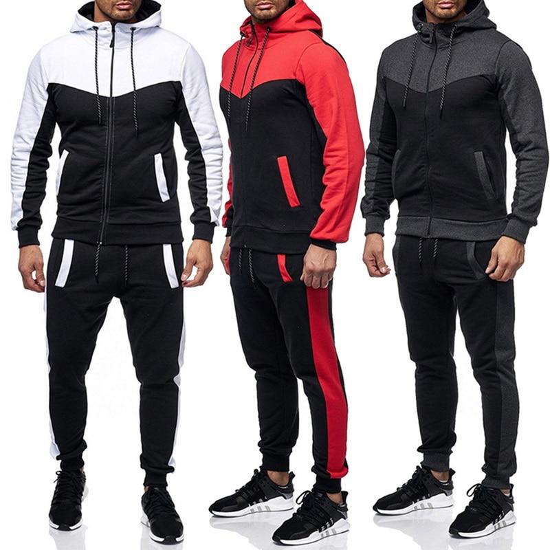 HEFLASHOR Spring 2PCS Tracksuit Men Casual Patchwork Sportwear Set Sweatshirt