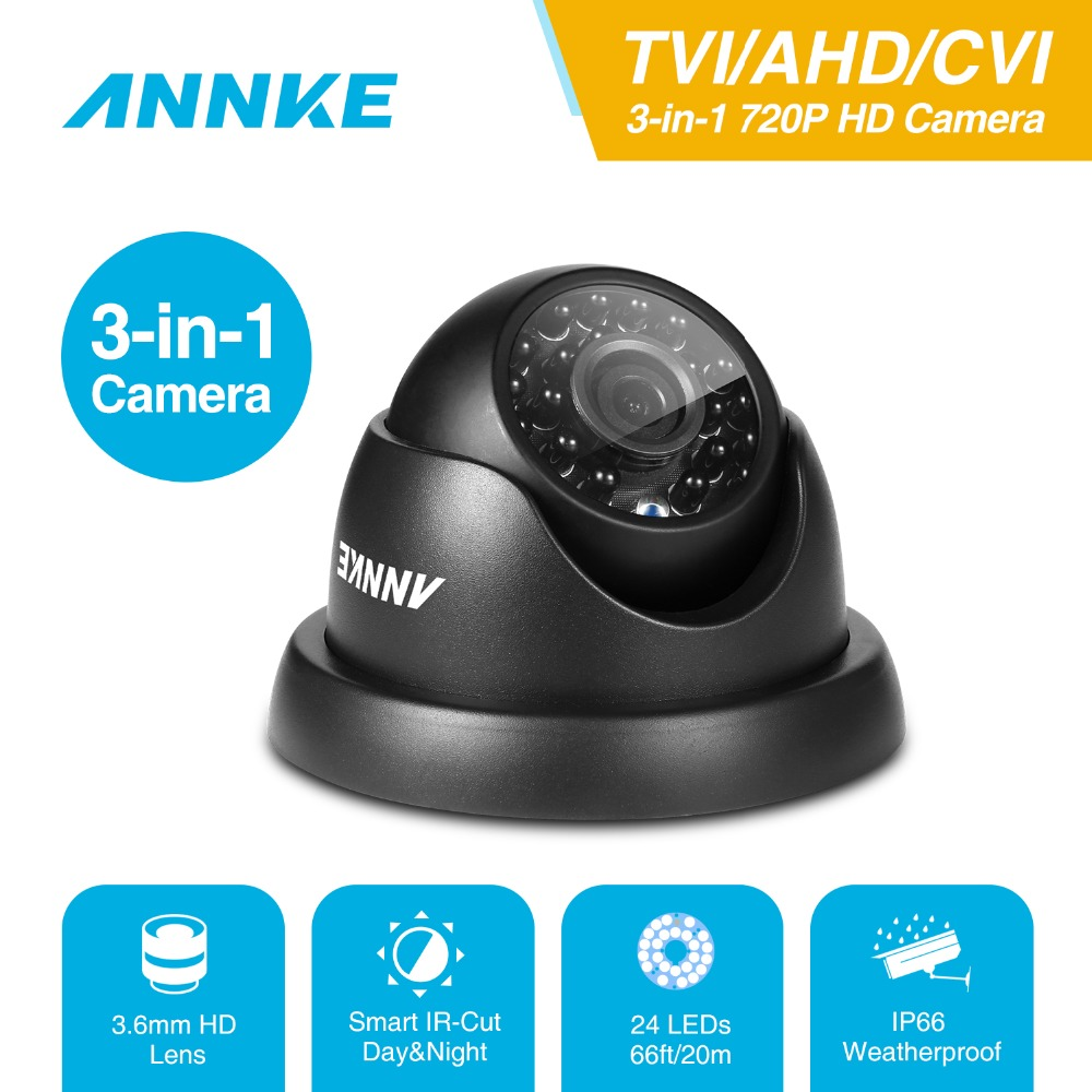 ANNKE 720P TVI AHD CVI 3IN1 Dome Camera 1280TVL Outdoor Indoor Fixed Camera Weatherproof Smart IR Cut CCTV Security Cam System-in Surveillance Cameras from Security & Protection