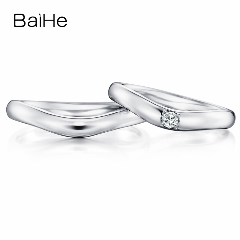 BAIHE Solid 18K White Gold 0.08ct Certified H/SI Round 100% Genuine Natural Diamond Engagement Women Trendy Jewelry Couple Ring BAIHE Solid 18K White Gold 0.08ct Certified H/SI Round 100% Genuine Natural Diamond Engagement Women Trendy Jewelry Couple Ring