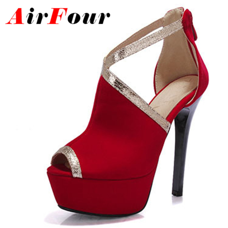 ФОТО Airfour New Women Extreme High Heels Pumps Women Thin Heels Platform Sandals Party Wedding Shoes Black Red Blue Women Pumps
