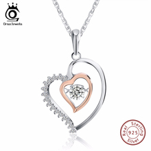 ORSA JEWELS Genuine 925 Silver Double Heart Pendant Necklace with 0.3 ct Crystal Rhodium mixed Rose Gold Color Necklaces SN15