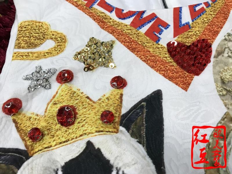 Arrivée Courte Haute As Pic Belle Mode Vêtements Une Femme Sans Robe De Impression Cou Nouvelle Robe O Ligne Genou dessus Manches Broderie Qualité Du wtqn0p