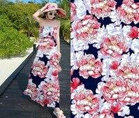 luxury Women Dress Super High end Computer Digital Blue flowers Heavy strech christmas fabric Pure Silk Woven tissus au metre