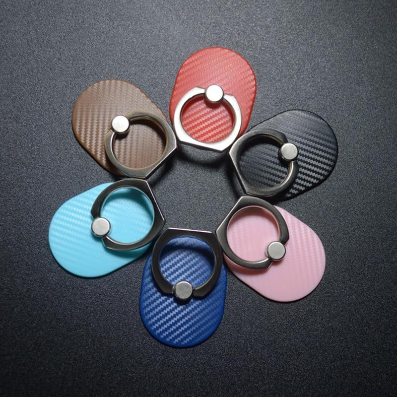 Carbon Fiber Mobile Phone Smartphone Holder Stand For Lazy Person Phone Bracket Desktop General Metal Socket Ring Holder SMSNXY