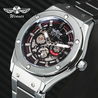 WINNER Top Brand Luxury Fashion Automatic Watches for Men Mechanical Skeleton Watch Dial Stainless Steel Strap Casual Wristwatch