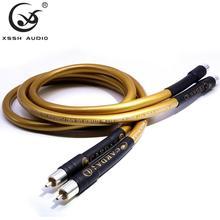 1 par RCA a RCA amplificador de potencia de alta gama OFC puro cobre chapado plata 10mm 2RCA to2 RCA Cable de línea de Cable de Audio