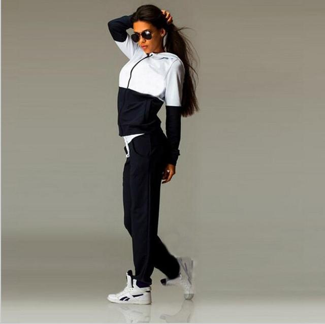 Mujer trajes con pantalones y chaqueta set otoño de la mujer sets de ropa para mujer chándal ajustado más el tamaño de señora de dos piezas de largo manga