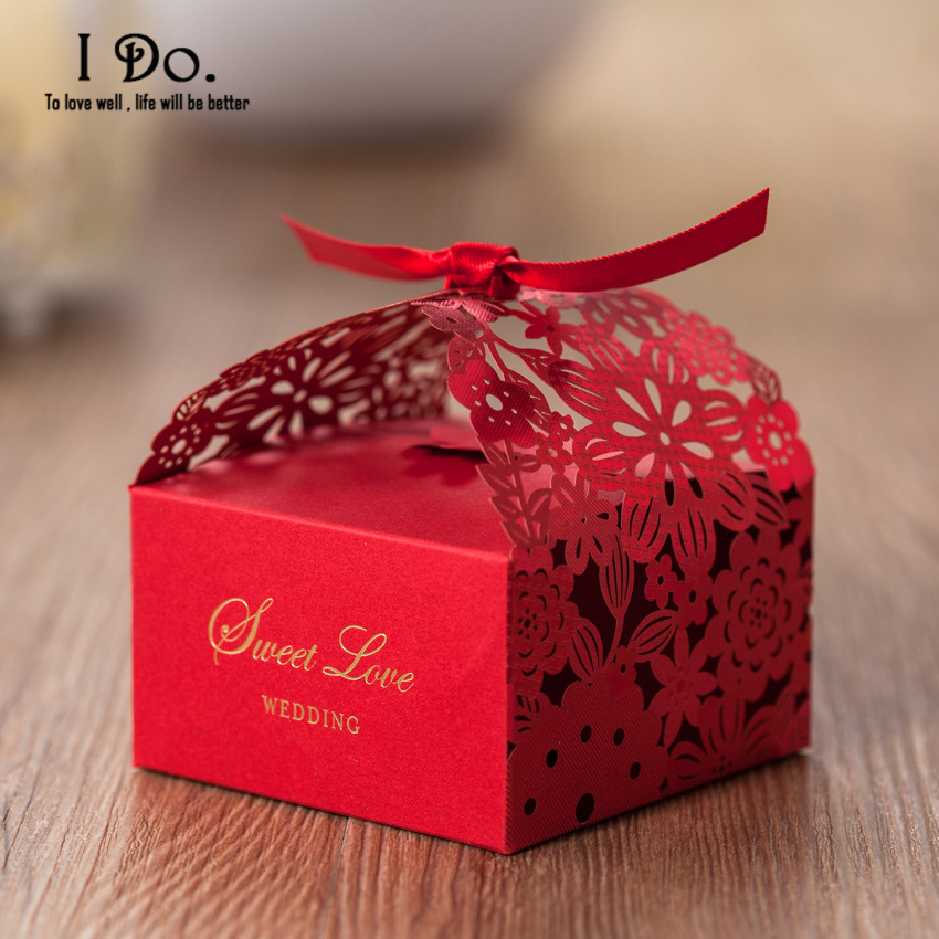 Wedding Gifts Boxes: Free Shipping 10pcs Red Wedding Favor Boxes Wedding Candy