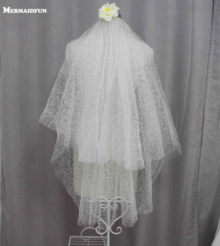 MERMAIDFUNN 2019 Nye Sequins 2 Layers Kort Bryllupsslør Med Kam Ivory Color Bridal Veil Velos De Novia