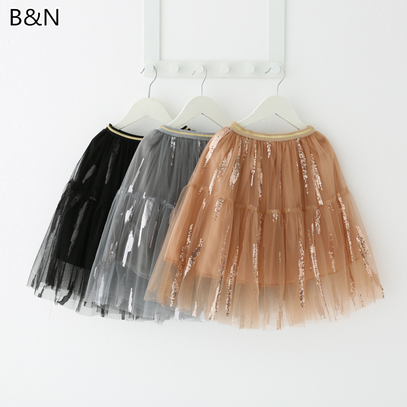 3 10Y Girl 39 s Tulle Sequins Tutu Skirts Gray Black Champagne Mesh Pettiskirt For Children 39 s Princess Gauze Skirt Drop Shipping in Skirts from Mother amp Kids