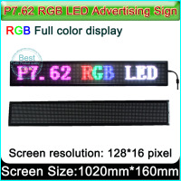 SMD P7.62mm led signs,car led message, Indoor full color programmable led signs, H6.3 x W40 (128Pixel*16Pixel)
