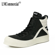 Genuine Leather menslace up shoes all-match cowhide mens boots casual  autumn winter cowboy high top sneakers