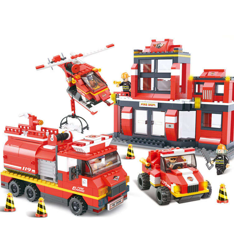 Models building toy 0226 City Fire Police Rescue Helicopter Truck Building Blocks   city toys & hobbies