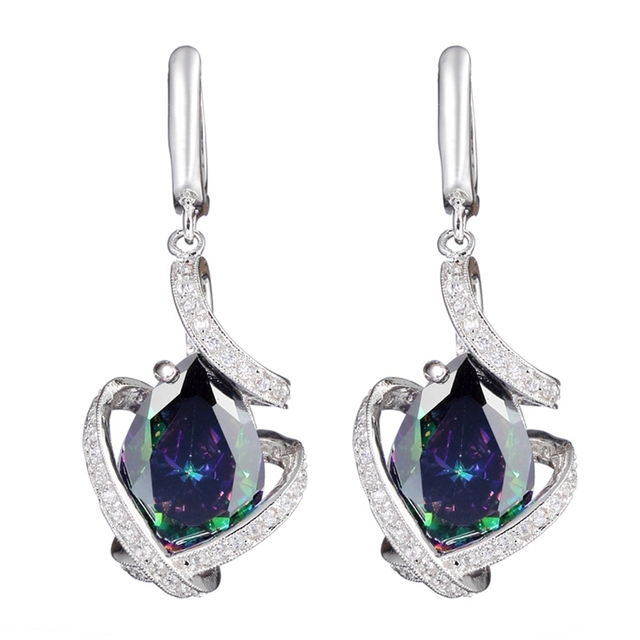 Fleure Esme Hot Silver Plated Earrings Rainbow And White Cubic Zirconia Jewelry R3328 Explosion Models Rave