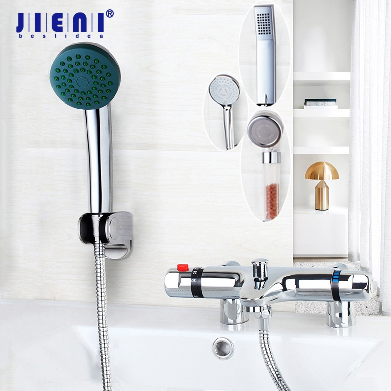 Chrome Brass Decked Mounted Thermostatic Mixer Taps Basin Faucet Set Shower Faucet Wall Mounted Shower Handle Bathtub Sink yanksmart wall mounted thermostatic faucet double handles faucet spout filler diverter chrome bathtub shower faucet valve mixer
