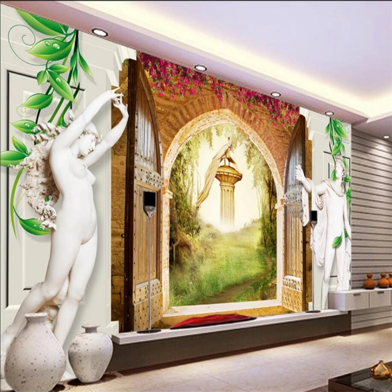 Large 3d European Pearl And Rose Jewelry Tv Background: Beibehang European Style 3d Rome Column Sculpture Rose TV