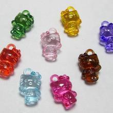 100 разноцветные прозрачные акриловые милые Подвески 16 мм