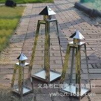 European stainless steel iron floor glass candlestick wedding lantern Home Decoration wedding supplies ornaments