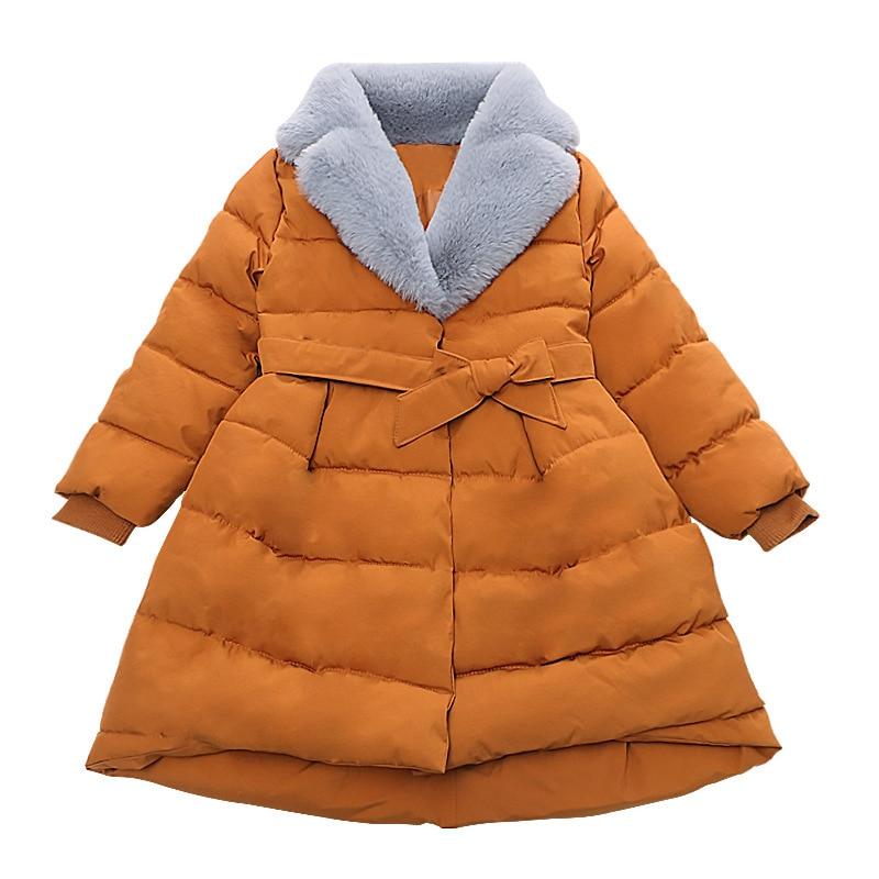все цены на Girl solid color fashion winter jacket Children's waist coats Girl lapel coat Children plus long jacket Fashion new coat