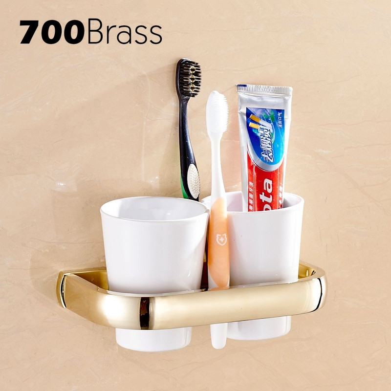 Modern Wall Mounted Brass Double Cup Holders Luxury Gold Tumbler Holder Bathroom Toothbrush Holder Shelf bathroom accessories toothbrush holder chrome brass cup&tumbler holder wall mounted double glass cup holder zr2671