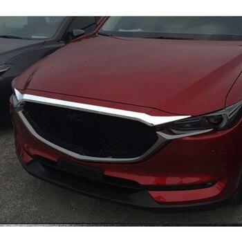 1 pcs Acessórios NOVO! ABS Chrome 1 pcs CX-5 Tampa Do Motor Capô Guarnição Grade Dianteira Para Mazda 2017 2018