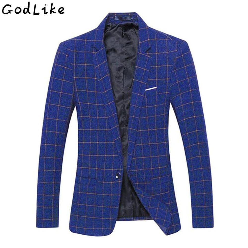2019 hommes Plaid Blazer Costume veste décontracté Business Costume Blazer mâle grande taille 4XL 5XL coton mariage et fête Masculino Costume