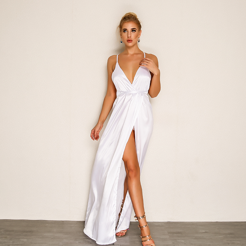 f08b43590326 Joyfunear New arrival split maxi dress white blue solid sexy deep v neck  evening party elegant clubwear spaghetti strap dresses-in Dresses from  Women's ...
