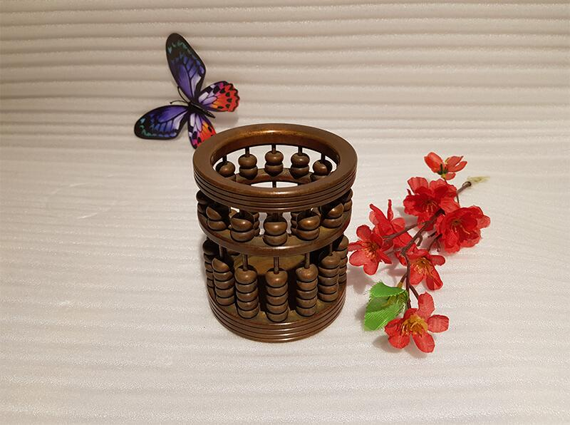 Chinese style vintage bronze brass abacus pen holder handmade ancient craft (4)