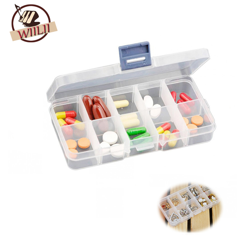 10 Cavities Transparent Plastic Storage Box For Jewelry Pill Beads Organizers