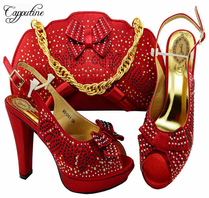 Capputine New Italian Design Woman Fashion Party Shoes And Bag To Match Beautiful High Heel Shoes And Bag Set For Party MM10614 italian visual phrase book