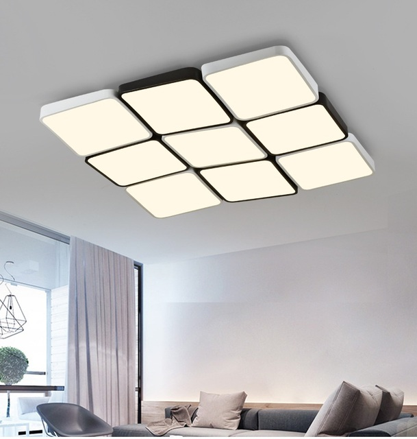 LED remote control lamps ultra-thin living room Ceiling lights square rectangle cube bedroom study lighting
