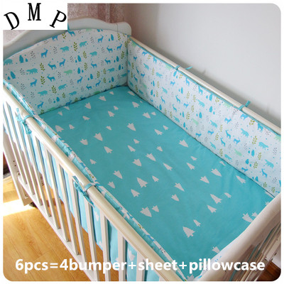 Promotion! 6PCS Crib Bedding Cotton Baby Bedding Set for Girls ,include:(bumper+sheet+pillow cover)