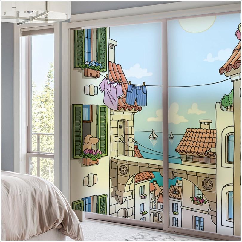 Tamaño personalizado ventanas película de vidrio puerta pegatinas Kindergarten etiqueta engomada estática esmerilado 3d Castillo de ventana