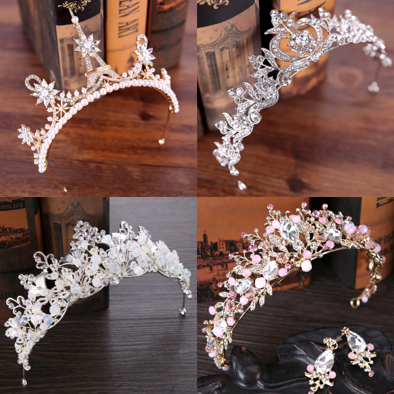 Diverse Silver Gold Crystal Bride Tiara Crown Fashion Pearl Queen Wedding Crown Headpiece Wedding Hair Jewelry Accessories