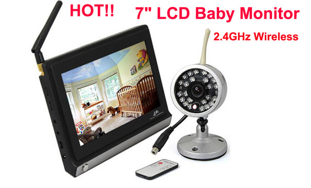 high quality 7 lcd 2 4ghz wireless baby security monitor camera and night vision security baby. Black Bedroom Furniture Sets. Home Design Ideas
