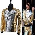 MJ Майкл Джексон История BAD Золотой Спандекс Двойной Брестед Тканые Куртка Производительности Хеллоуин Костюм Подарок