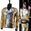 MJ Michael Jackson History BAD Golden Spandex Double Breasted Woven Jacket Performance Halloween Costume Gift
