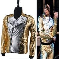 MJ Michael Jackson History KÖTÜ Altın Spandex Kruvaze Dokuma Ceket Performans Cadılar Bayramı Kostüm Hediye